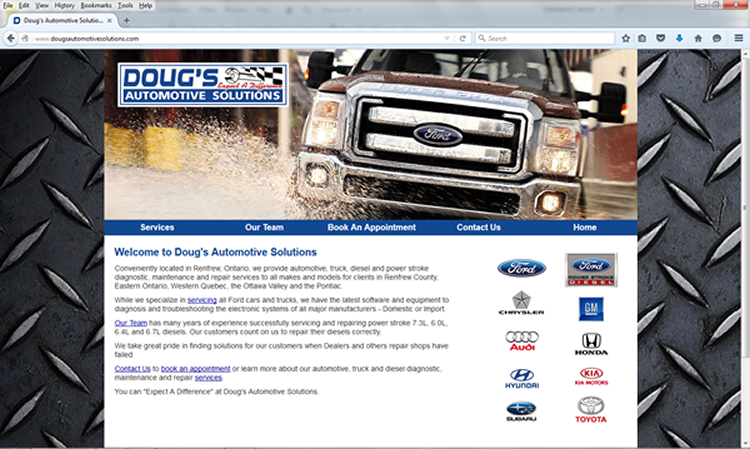 Doug's Automotive Solutions Website Screenshot