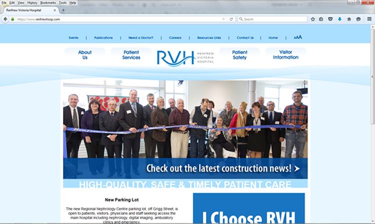 Renfrew Victoria Hospital Website Screenshot
