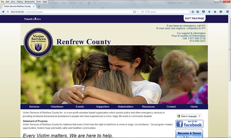 Victim Services of Renfrew County Website Screenshot